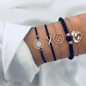 Boho 5 Piece Bracelet Set Black & Gold